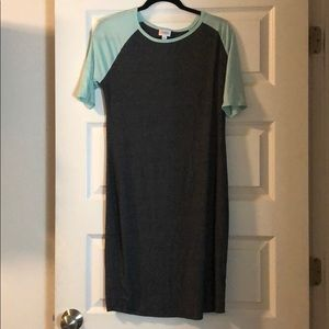 Grey/aqua LuLaRoe Julia dress